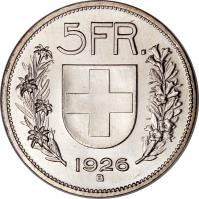 reverse of 5 Francs (1924 - 1928) coin with KM# 38 from Switzerland.