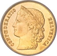 obverse of 20 Francs (1883 - 1896) coin with KM# 31 from Switzerland. Inscription: CONFŒDERATIO HELVETICA