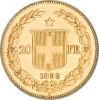 reverse of 20 Francs (1883 - 1896) coin with KM# 31 from Switzerland. Inscription: 20 FR * 1895
