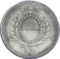 obverse of 5 Francs - Shooting Festival (1934) coin with X# S18 from Switzerland. Inscription: BON DE 5 Fr REMBOURSABLEAVANT LE 31 AOUT 1934 5 Fr B