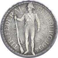 reverse of 5 Francs - Shooting Festival (1934) coin with X# S18 from Switzerland. Inscription: TIR FEDERALFRIBOURG 1934