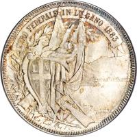 obverse of 5 Francs - Shooting Festival (1883) coin with X# S16 from Switzerland. Inscription: TIRO FEDERALE IN LUGANO 1883 L V G A