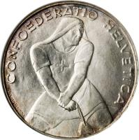 obverse of 5 Francs - Battle of Laupen (1939) coin with KM# 42 from Switzerland. Inscription: CONFOEDERATIO HELVETICA REMO ROSSI