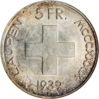 reverse of 5 Francs - Battle of Laupen (1939) coin with KM# 42 from Switzerland. Inscription: 5 FR. LAUPEN MCCCXXXIX 1939