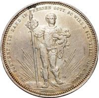 obverse of 5 Francs - Shooting Festival (1879) coin with X# S14 from Switzerland. Inscription: DAS SCHWERT ZUR HAND IN HERZEN GOTT. SO WIRD D. SCHWEIZER NIE Z. SPOTT DURUSSEL