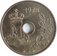 obverse of 25 Øre - Margrethe II (1973 - 1988) coin with KM# 861 from Denmark. Inscription: 1984