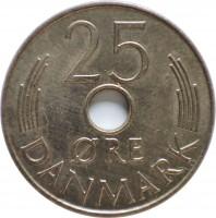 reverse of 25 Øre - Margrethe II (1973 - 1988) coin with KM# 861 from Denmark. Inscription: 25 ØRE DANMARK