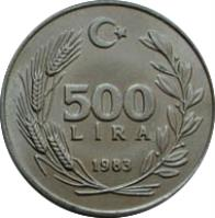reverse of 500 Lira - Lydia: First Coin In The World (1983) coin with KM# 957 from Turkey. Inscription: 500 LİRA 1983
