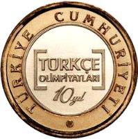 obverse of 1 Lira - Turkish Olympics (2012) coin with KM# 1282 from Turkey. Inscription: TÜRKİYE CUMHURİYETİ TÜRKÇE OLİMPİYATLARI