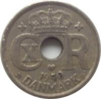 obverse of 10 Øre - Christian X (1924 - 1947) coin with KM# 822 from Denmark. Inscription: 1940 DANMARK