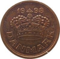 obverse of 50 Øre - Margrethe II (1989 - 2015) coin with KM# 866 from Denmark. Inscription: 19 93 DANMARK