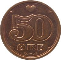 reverse of 50 Øre - Margrethe II (1989 - 2015) coin with KM# 866 from Denmark. Inscription: ♥ 50 ØRE