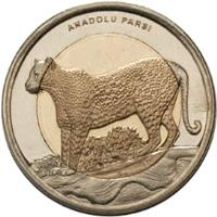 obverse of 1 Lira - Anatolian Leopard (2012) coin with KM# 1284 from Turkey. Inscription: ANADOLU PARSI