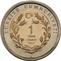 reverse of 1 Lira - Anatolian Leopard (2012) coin with KM# 1284 from Turkey. Inscription: TÜRKIYE CUMHURIYETI 1 TÜRK LIRASI 2012