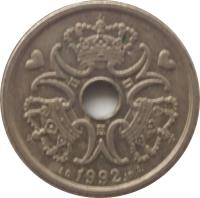obverse of 1 Krone - Margrethe II (1992 - 2014) coin with KM# 873 from Denmark. Inscription: 1992