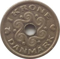 reverse of 1 Krone - Margrethe II (1992 - 2014) coin with KM# 873 from Denmark. Inscription: 1 KRONE DANMARK