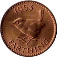 reverse of 1 Farthing - Elizabeth II - With BRITT:OMN; 1'st Portrait (1953) coin with KM# 881 from United Kingdom. Inscription: 1953 HWP FARTHING