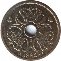 obverse of 2 Kroner - Margrethe II (1992 - 2014) coin with KM# 874 from Denmark. Inscription: 1992