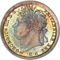 obverse of 1 Penny - George IV - Maundy Coinage (1822 - 1830) coin with KM# 683 from United Kingdom. Inscription: GEORGIUS IIII D.G. BRITANNIAR. REX F.D.