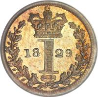 reverse of 1 Penny - George IV - Maundy Coinage (1822 - 1830) coin with KM# 683 from United Kingdom. Inscription: 18 1 29