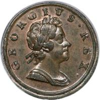 obverse of 1/2 Penny - George I (1717 - 1719) coin with KM# 549 from United Kingdom. Inscription: GEORGIVS · REX ·
