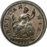 reverse of 1/2 Penny - George I (1717 - 1719) coin with KM# 549 from United Kingdom. Inscription: BRITAN NIA. 1718