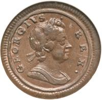 obverse of 1 Farthing - George I - Larger (1719 - 1724) coin with KM# 556 from United Kingdom. Inscription: GEORGIVS · REX ·