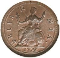 reverse of 1 Farthing - George I - Larger (1719 - 1724) coin with KM# 556 from United Kingdom. Inscription: BRITA N NIA. 1722