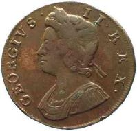 obverse of 1/2 Penny - George II (1729 - 1739) coin with KM# 566 from United Kingdom. Inscription: GEORGIVS · II · REX ·