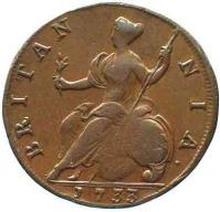 reverse of 1/2 Penny - George II (1729 - 1739) coin with KM# 566 from United Kingdom. Inscription: BRITAN NIA · 1733