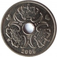 obverse of 5 Kroner - Margrethe II (1990 - 2014) coin with KM# 869 from Denmark. Inscription: 2006