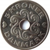 reverse of 5 Kroner - Margrethe II (1990 - 2014) coin with KM# 869 from Denmark. Inscription: 5 KRONER DANMARK