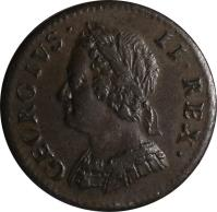 obverse of 1 Farthing - George II (1741 - 1754) coin with KM# 581 from United Kingdom. Inscription: GEORGIVS · II · REX ·