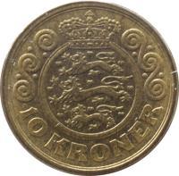 reverse of 10 Kroner - Margrethe II - 1'st Coat of Arms; 3'rd Portrait (1994 - 1999) coin with KM# 877 from Denmark. Inscription: 10 KRONER
