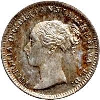 obverse of 1 Penny - Victoria - Maundy Coinage; 1'st Portrait (1838 - 1887) coin with KM# 727 from United Kingdom. Inscription: VICTORIA D:G: BRITANNIAR: REGINA F:D: