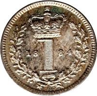 reverse of 1 Penny - Victoria - Maundy Coinage; 1'st Portrait (1838 - 1887) coin with KM# 727 from United Kingdom. Inscription: 18 1 69