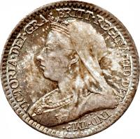 obverse of 1 Penny - Victoria - Maundy Coinage; 3'rd Portrait (1893 - 1901) coin with KM# 775 from United Kingdom. Inscription: VICTORIA · DEI · GRA · BRITT · REGINA · FID · DEF · IND · IMP T.B.