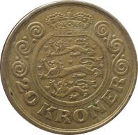 reverse of 20 Kroner - Margrethe II - 1'st Coat of Arms; 3'rd Portrait (1994 - 1999) coin with KM# 878 from Denmark. Inscription: 20 KRONER