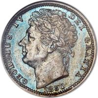 obverse of 1/2 Farthing - George IV (1828 - 1830) coin with KM# 704 from United Kingdom. Inscription: GEORGIUS IV DEI GRATIA 1830
