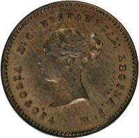 obverse of 1/4 Farthing - Victoria (1839 - 1868) coin with KM# 737 from United Kingdom. Inscription: VICTORIA D:G: BRITANNIAR: REGINA F:D: