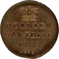 reverse of 1/4 Farthing - Victoria (1839 - 1868) coin with KM# 737 from United Kingdom. Inscription: QUARTER FARTHING 1852
