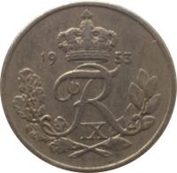 obverse of 10 Øre - Frederik IX (1948 - 1960) coin with KM# 841 from Denmark. Inscription: 19 53