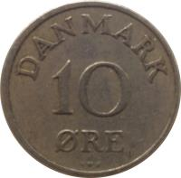 reverse of 10 Øre - Frederik IX (1948 - 1960) coin with KM# 841 from Denmark. Inscription: DANMARK 10 ØRE