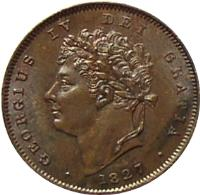 obverse of 1/3 Farthing - George IV (1827) coin with KM# 703 from United Kingdom. Inscription: GEORGIUS IV DEI GRATIA · 1827 ·