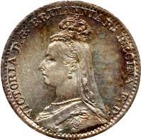 obverse of 1 Penny - Victoria - Maundy Coinage (1888 - 1892) coin with KM# 770 from United Kingdom. Inscription: VICTORIA D:G: BRITANNIAR: REGINA F:D: