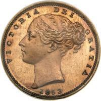 obverse of 1 Farthing - Victoria - 1'st Portrait (1839 - 1853) coin with KM# 725a from United Kingdom. Inscription: VICTORIA DEI GRATIA 1853