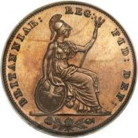 reverse of 1 Farthing - Victoria - 1'st Portrait (1839 - 1853) coin with KM# 725a from United Kingdom. Inscription: BRITANNIAR: REG: FID: DEF: