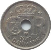 obverse of 25 Øre - Christian X (1924 - 1947) coin with KM# 823 from Denmark. Inscription: 1940 DANMARK