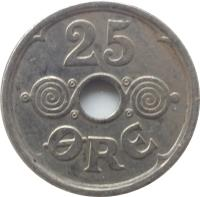 reverse of 25 Øre - Christian X (1924 - 1947) coin with KM# 823 from Denmark. Inscription: 25 ØRE
