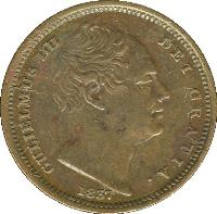obverse of 1/2 Farthing - William IV (1837) coin with KM# 724 from United Kingdom. Inscription: GULIELMUS IIII DEI GRATIA. 1837